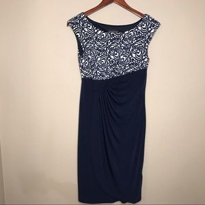 Connected Apparel Dress Blue & White Rose Pattern